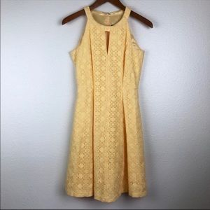 White House Black Market yellow halter dress, 0
